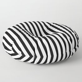 Black & White Small Vertical Stripes - Mix & Match with Simplicity of Life Floor Pillow