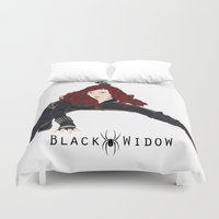 black widow Duvet Covers featuring Black Widow by trenchcoatandimpala