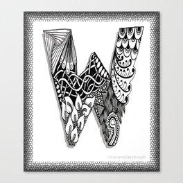 Zentangle W Monogram Alphabet Initials Canvas Print
