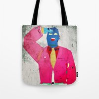 suit Tote Bags featuring Suit Salute by Alec Goss