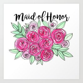 Maid of Honor Wedding Pink Roses Watercolor Art Print