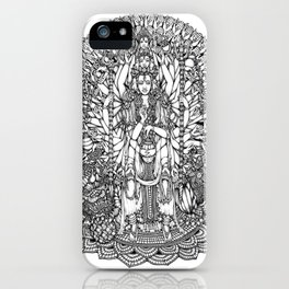 Bodhisattva Avalokiteshvara of Compassion Arms and the Imperial Guardian Lion by Kent Chua iPhone Case