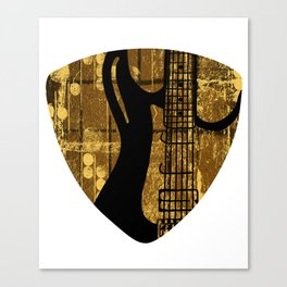 Guitar Pick With Electric Guitar Musician Player Canvas Print