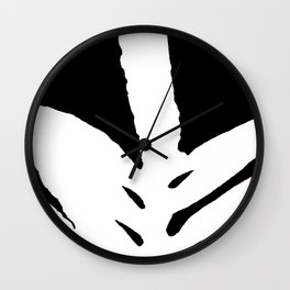 Green Fern White and Black Wall Clock