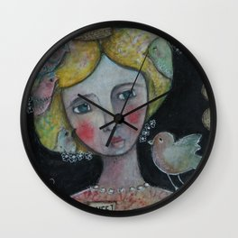 Lady with Flying Thoughts Wall Clock
