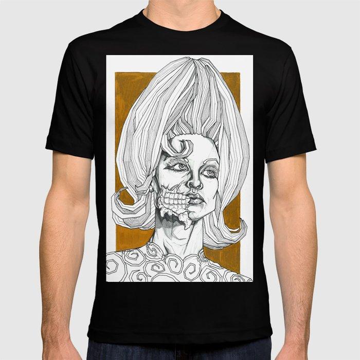 4e85b01e7 Geometric Black and Gold Linear Alien T-shirt by laramesanzaburke | Society6