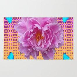 PINK PEONY MODERN ART  FLORAL BUTTERFLY ART  MODERN ART Rug