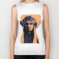 native american Biker Tanks featuring Native American Head Dress  by T.E.Perry