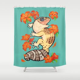Fire lily gecko Shower Curtain