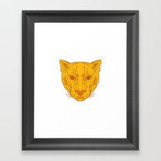 Cougar Mountain Lion Head Mono Line Framed Art Print