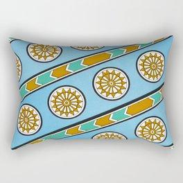 Vintage Assyrian Geometric Design Pattern in Blue, Teal and Mustard Rectangular Pillow