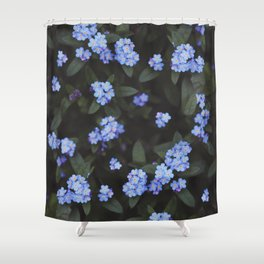 Blue Dark Floral Garden: Forget-me-nots Shower Curtain