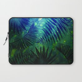 Blue Aloha - Morning Light abstract Tropical Palm Leaves and Monstera Leaf Garden Laptop Sleeve