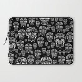 Black And White Sugar Skull Pattern Laptop Sleeve