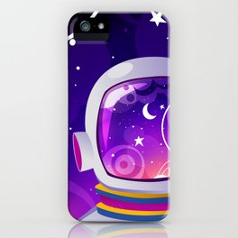 Purple Space exploration/Astronaut, Moon, Planets and Stars iPhone Case
