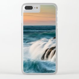 Cape Perpetua Ocean Waterfall Sunset Clear iPhone Case