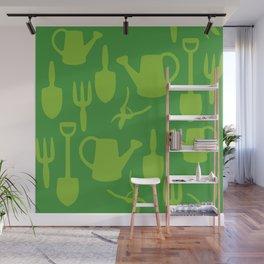 Green Garden Tools Wall Mural