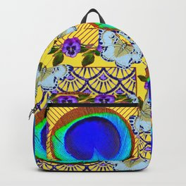 WHITE BUTTERFLIES & BLUE PEACOCK FEATHER EYES Backpack