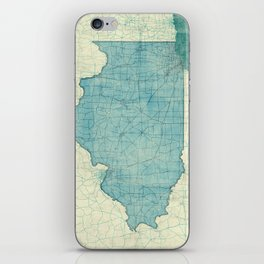 Illinois State Map Blue Vintage iPhone Skin