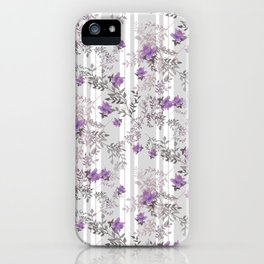 Lilac roses on a gray striped background. iPhone Case