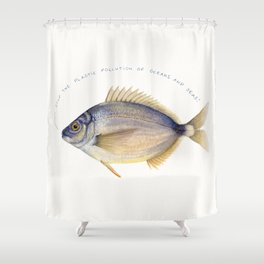 Stop the plastic pollution of oceans and seas! Shower Curtain