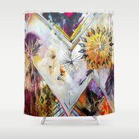 "flora bowley Shower Curtains featuring ""Burn Bright"" Original Painting by Flora Bowley by Flora Bowley"