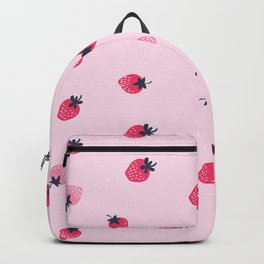 Lovely strawberries watercolor paint on pink background illustration pattern Backpack