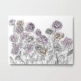 Rose Bush Drawing | Graphic Design Metal Print