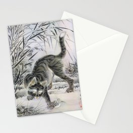 Kawanabe Kyosai - Cat Catching A Frog - Digital Remastered Edition Stationery Cards