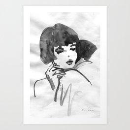 Black and white ink illustration movie poster Art Print