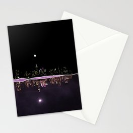 Moonlight In The City Skyline Design Stationery Cards
