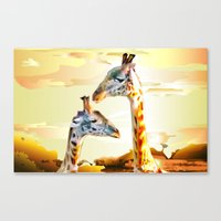 giraffes Canvas Prints featuring Giraffes by Eric Bassika