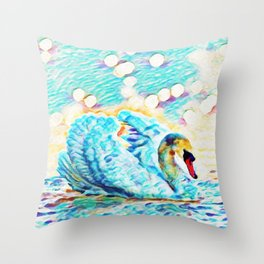 Swan Life | Painting  Throw Pillow