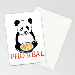 Pho Real Cute Panda Ramen Noodle Bowl graphic Stationery Cards