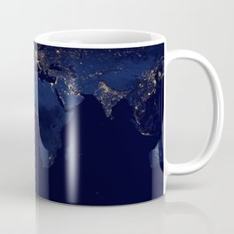Earth from space blue and gold space night sky photograph Coffee Mug