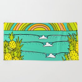 pineapple fields and endless summer vibes Beach Towel