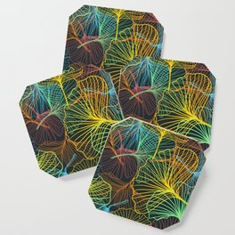 Ginkgo Biloba Leaves in Retro Rainbow Coaster