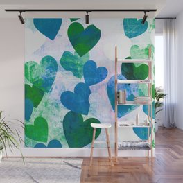 Fab Green & Blue Grungy Hearts Design Wall Mural