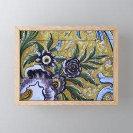 Antique floral ceramic tiles 1 Framed Mini Art Print