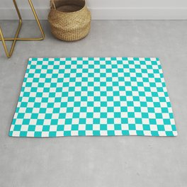 White and Cyan Checkerboard Rug