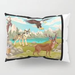 Funny animals in a mountain landscape Pillow Sham