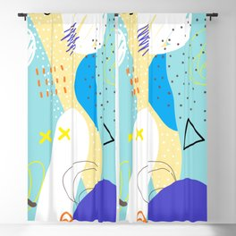 Abstract colorful shapes cool modern composition Blackout Curtain