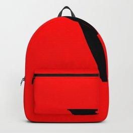 v (BLACK & RED LETTERS) Backpack
