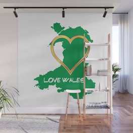 Love Wales Map Silhouette Heart Wall Mural