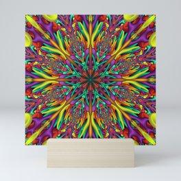 Crazy colors 3D mandala Mini Art Print