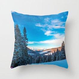 Winter sunset in the italian alps Throw Pillow