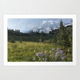 Wildflowers and Mount Rainier Art Print