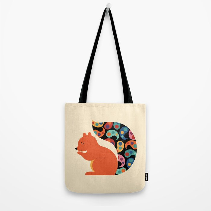 Paisley Squirrel Tote Bag