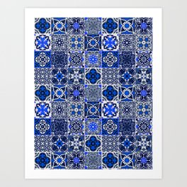-A34- Blue Traditional Floral Moroccan Tiles. Art Print