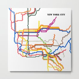 NYC Subway System (Complete) with Text Metal Print